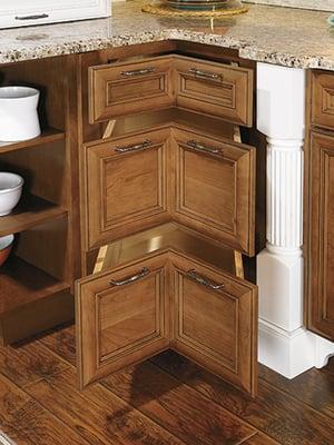 Wellborn corner cabinet drawers.