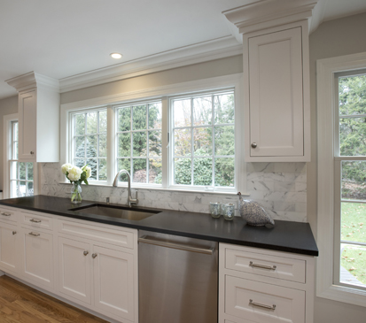 Wilton CT kitchen renovation by Clark Construction features Grabill cabinets.