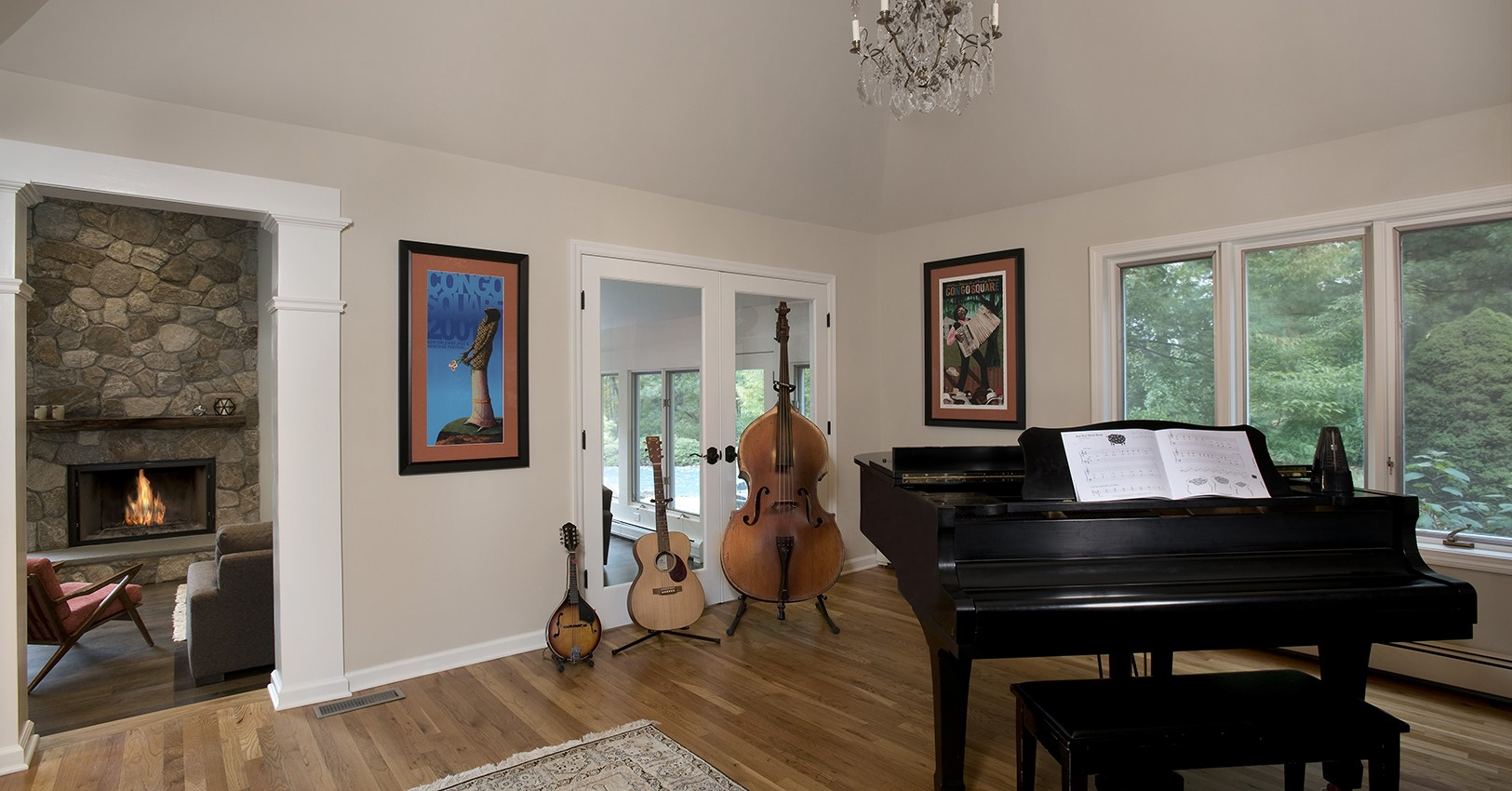 Music room looking towards fireplace