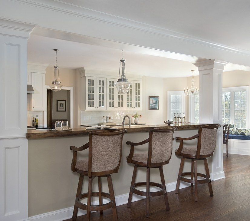 Informal Bar Seating Area in this Wilton CT kitchen remodel by Clark Construction