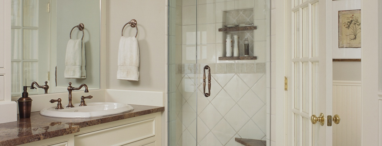 Off white master bath remodel with separate toilet room, by Clark Construction in Wilton CT