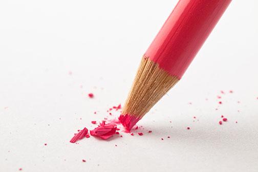 Broken pencil represents a poor design choice.