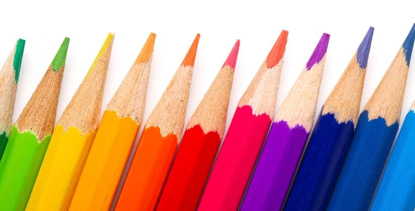 Colored pencils represent signs of fine architectural design