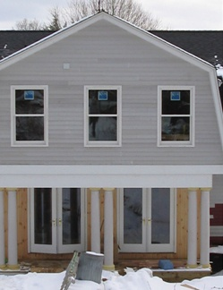 In progress Clark Construction of Ridgefield, Inc. gambrel addition in Redding, CT.