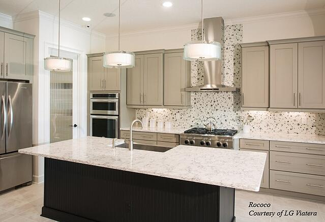 LG Viatera Rococo kitchen with cream designed with framed full overlay cabinets