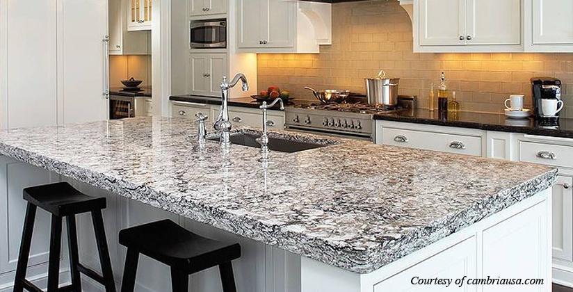 Cambria's white and black quartz based counter
