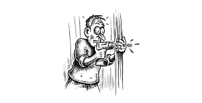 Cartoon of man drilling through his hand