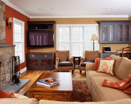 Connecticut great room with fireplace and warm colors, designed and built by Clark Construction of Ridgefield, Inc.