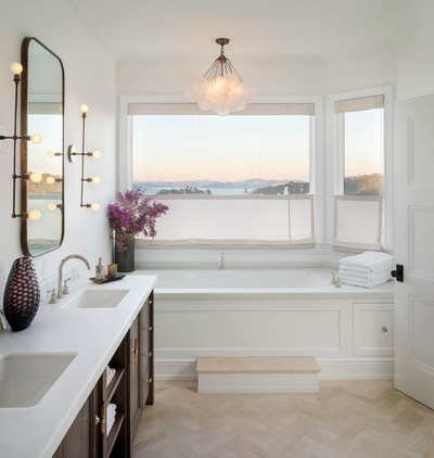 Skinny Sconces And A Ceiling Light Above The Tub Add Drama To This Master  Bathroom In San Francisco, Created By Sutro Architects.