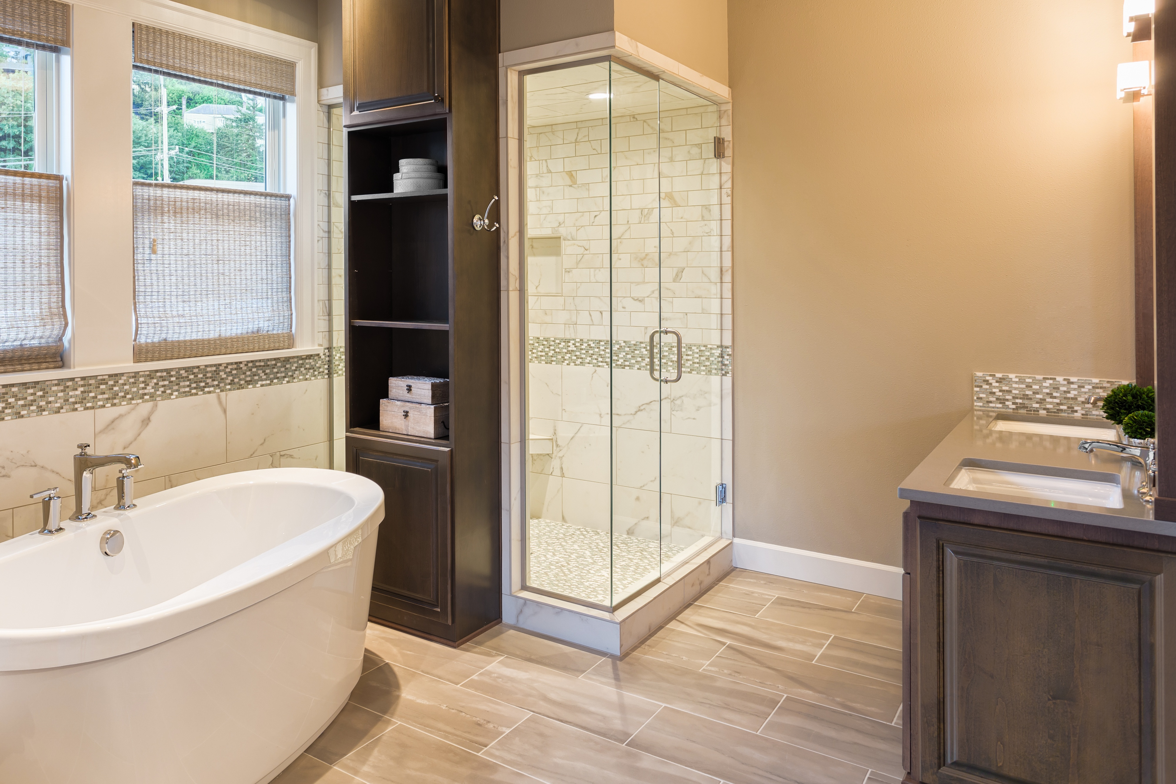 Modern shower with open shelves and dual vanity