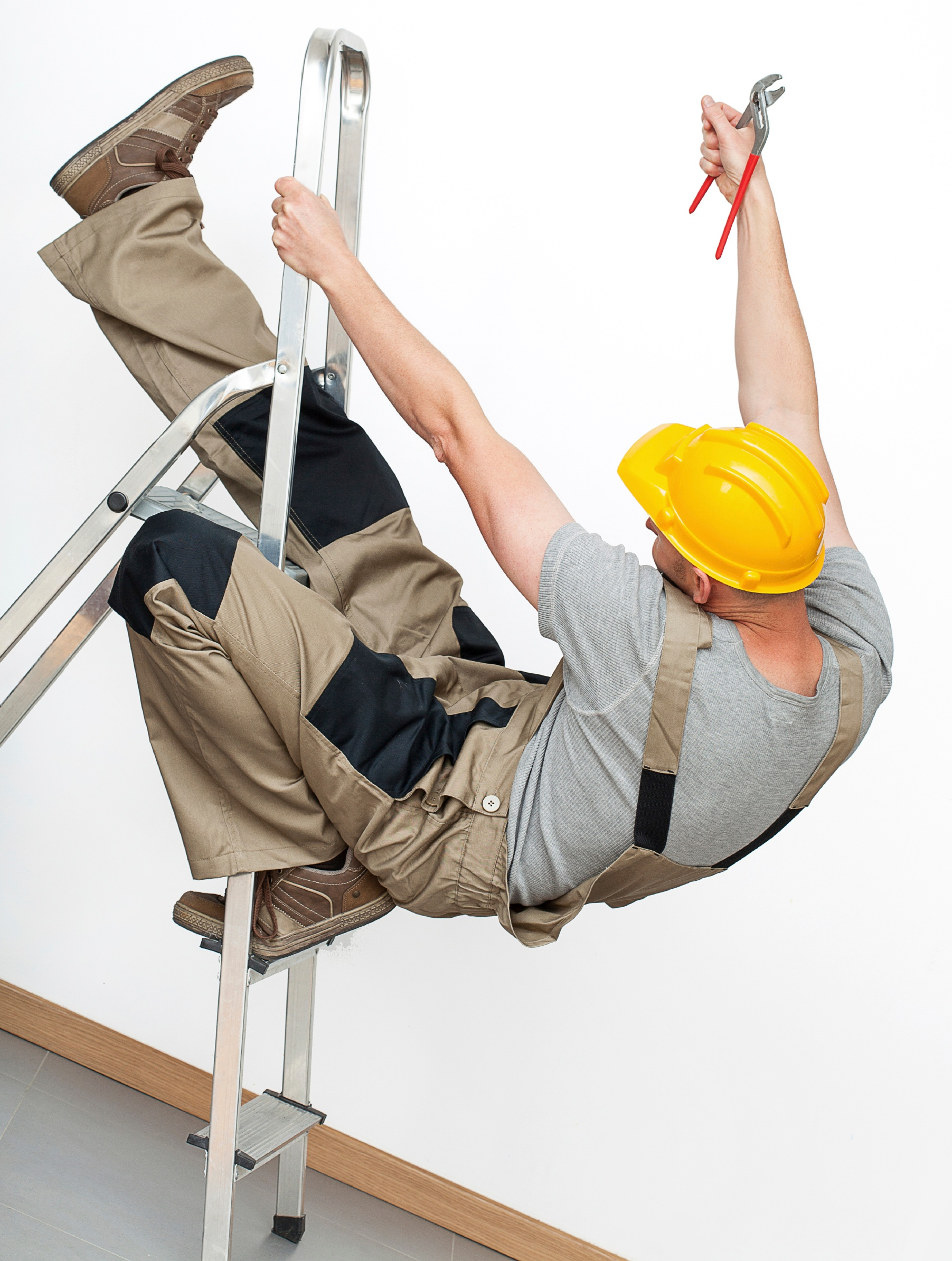 Man falling off ladder on DIY home improvement project.