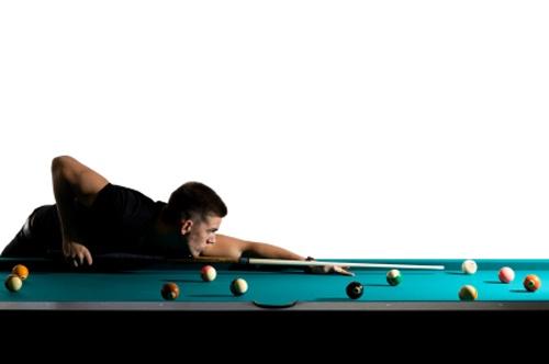 Man playing pool or billiards.