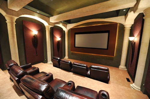Basement design often includes a media center or home theater such as this one.