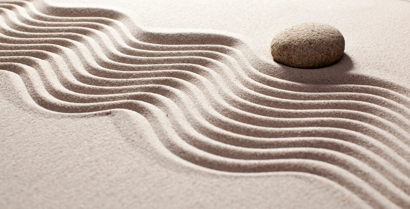 Stress free remodeling signified by Zen sand texture with stone