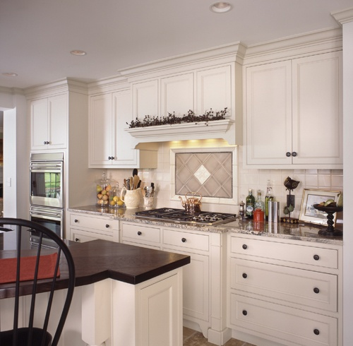Clark Construction design and built this timeless kitchen in Wilton, CT - view towards range.