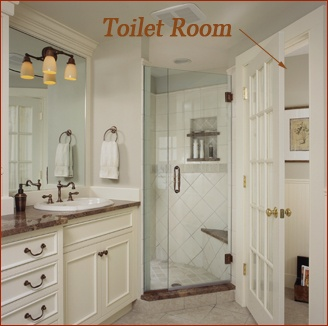 Toilet room in Wilton, CT historic traditional master bath renovation by Clark Construction of Ridgefield, Inc.