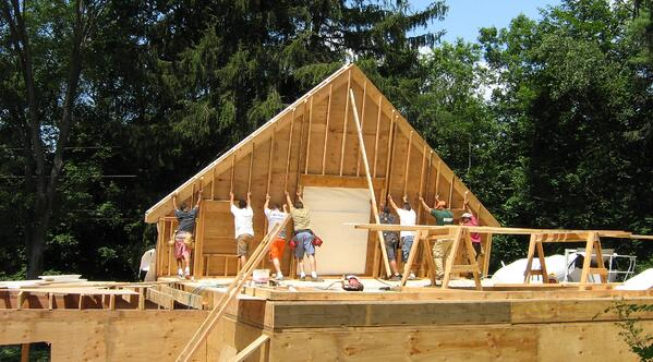 Clark Construction of Ridgefield,Inc builds a gable wall on a Wilton, CT addition.