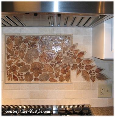 Kitchen ceramic tile mosaic leaves backsplash KC2 copy.jpg