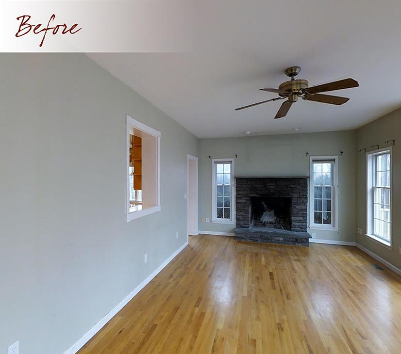 great room with large fan awaiting remodeling