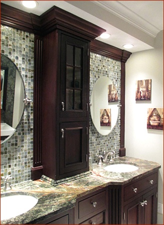 Clark Construction's Ridgefield, CT showroom double vanity with glass tile and dual sinks