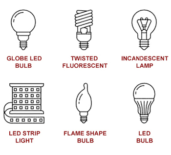 Light bulb shapes - Globe, incandescent, twisted fluorescent, incandescent lamp, LED strip light, flame shape, LED bulb
