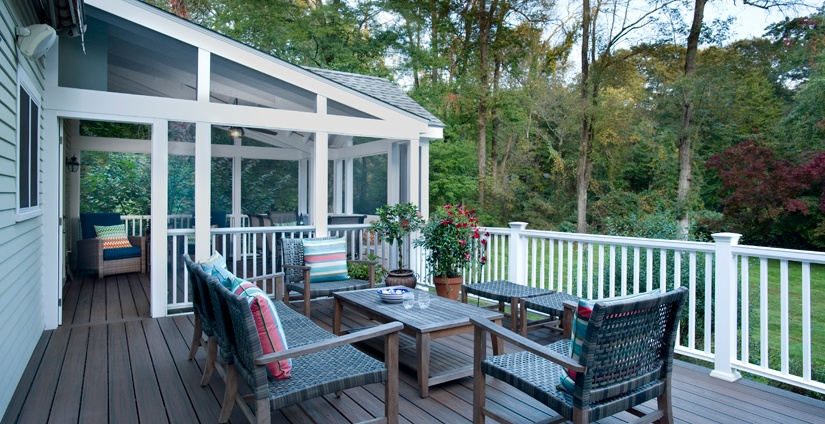 Trex deck with adjacent screened porch.