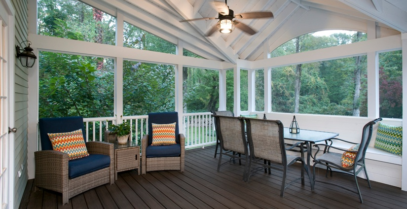 Inside the Wilton CT screened porch