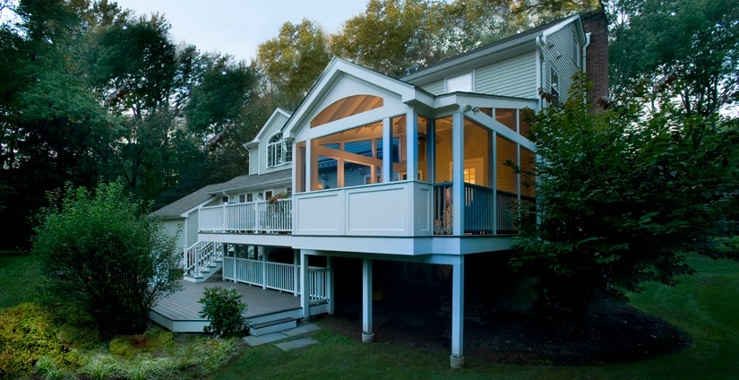 Wilton CT screened porch coordinates with the shapes of the house.