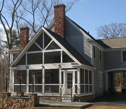 Clark Construction screened porch on colonial Ridgefield CT
