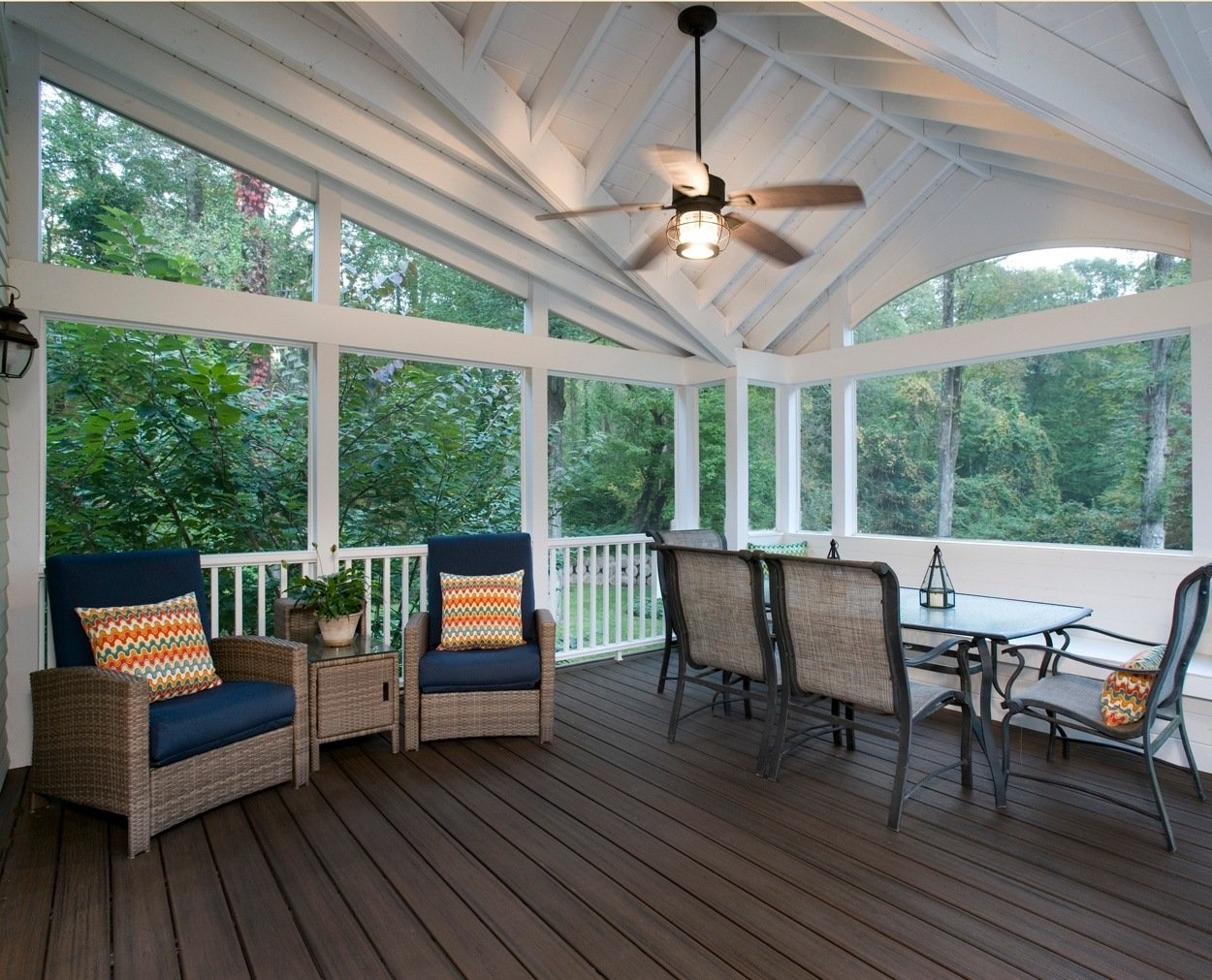 Nice lines and detailing on the inside of Clark Construction's screened porch.
