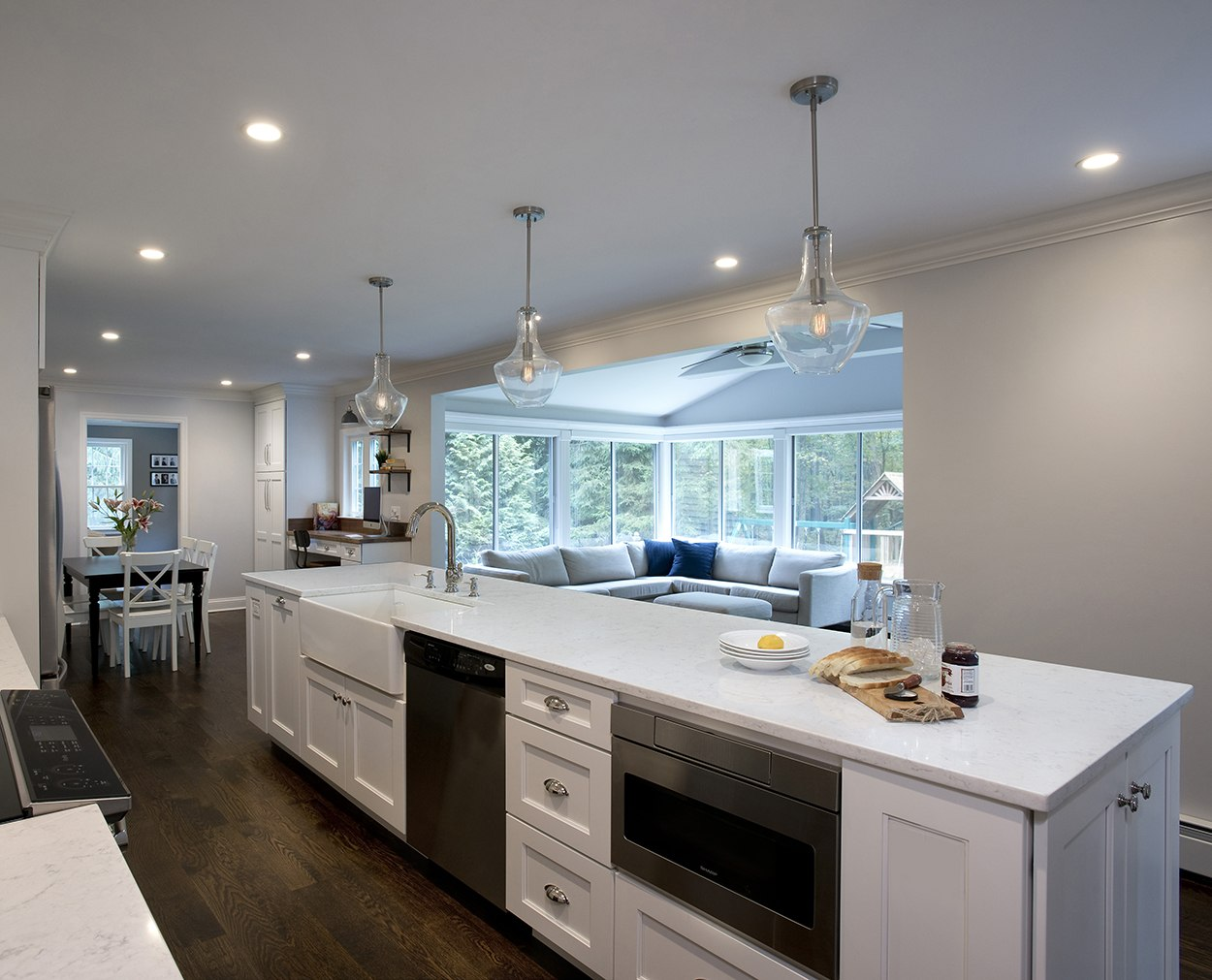 Looking over the island in this kitchen remodel in Fairfield County