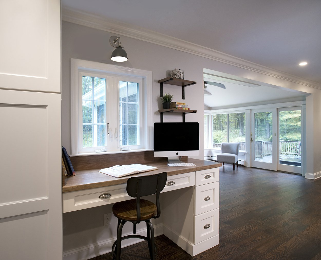 Desk with walnut top in Wilton CT Clark Construction remodel