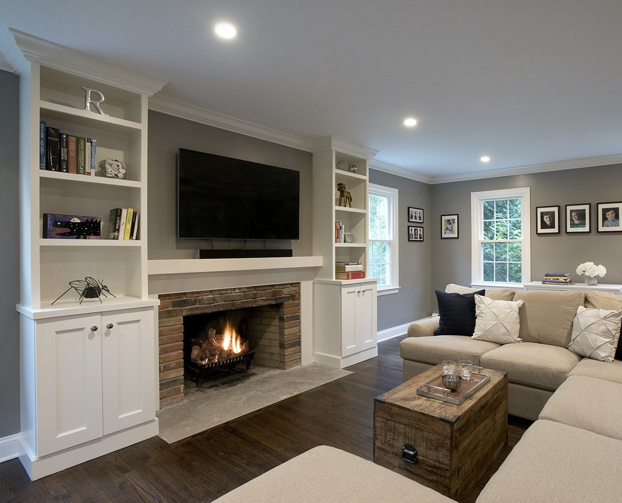 Livingroom renovation with mantle and fireplace in Wilton CT remodel