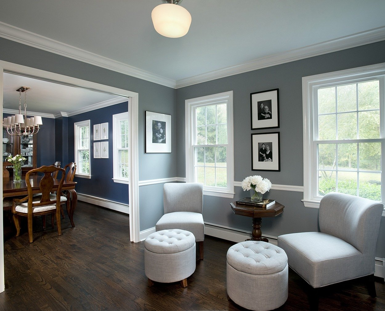 Music room and diningroom in Wilton CT remodel