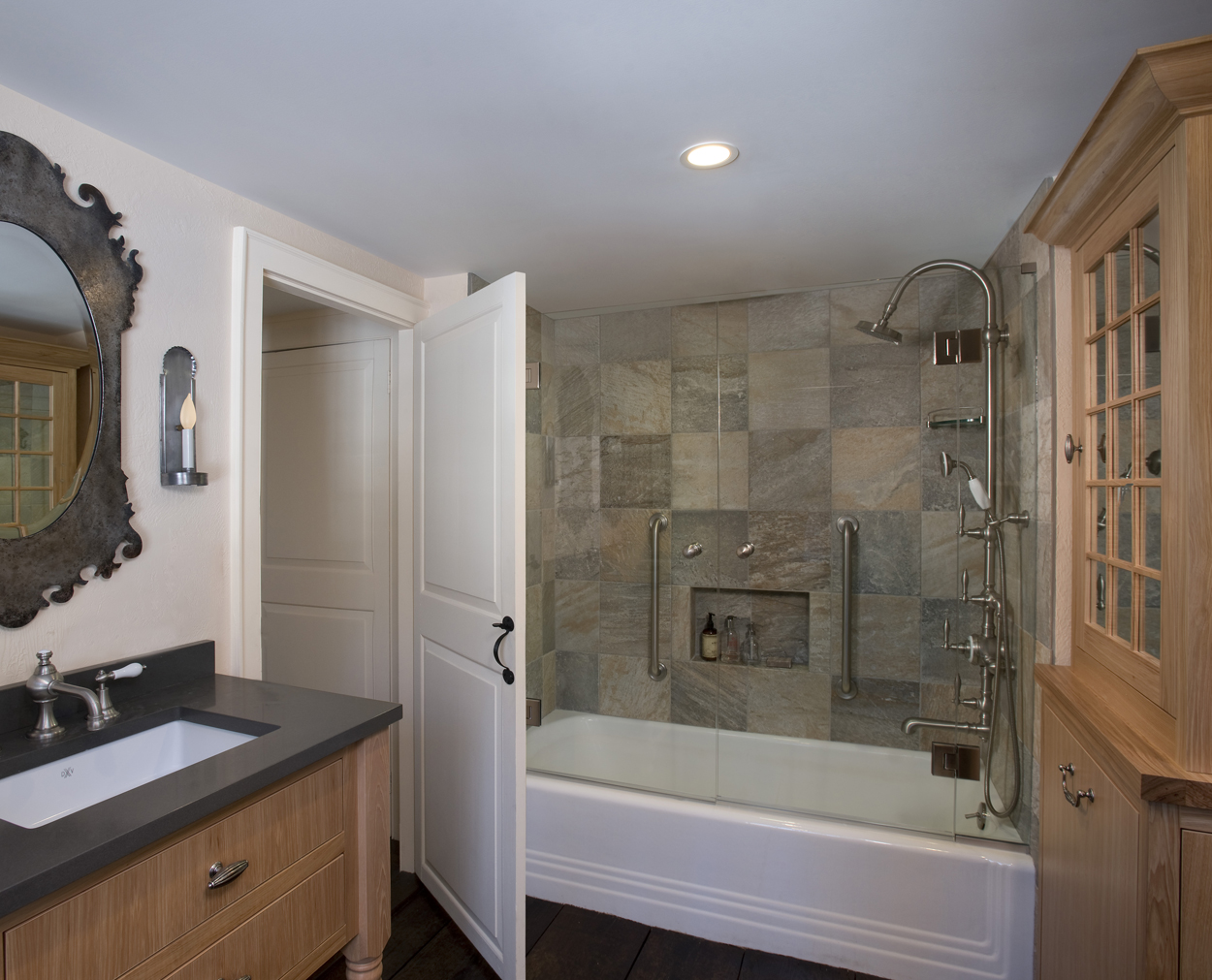 Slate tub surround with french shower doors in Redding bath redo