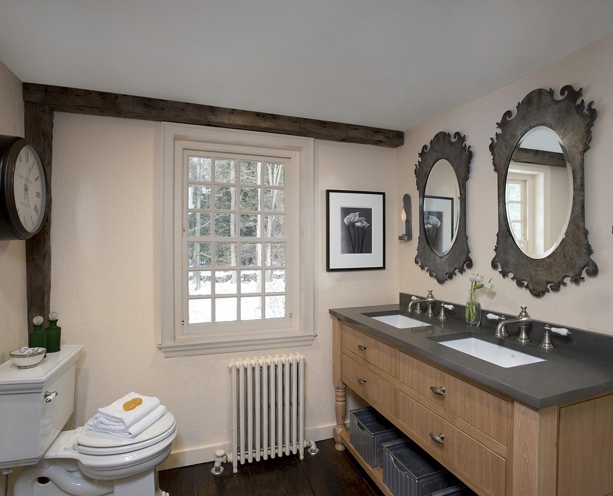 Double vanity with towel storage in Wilton CT master bath remodel