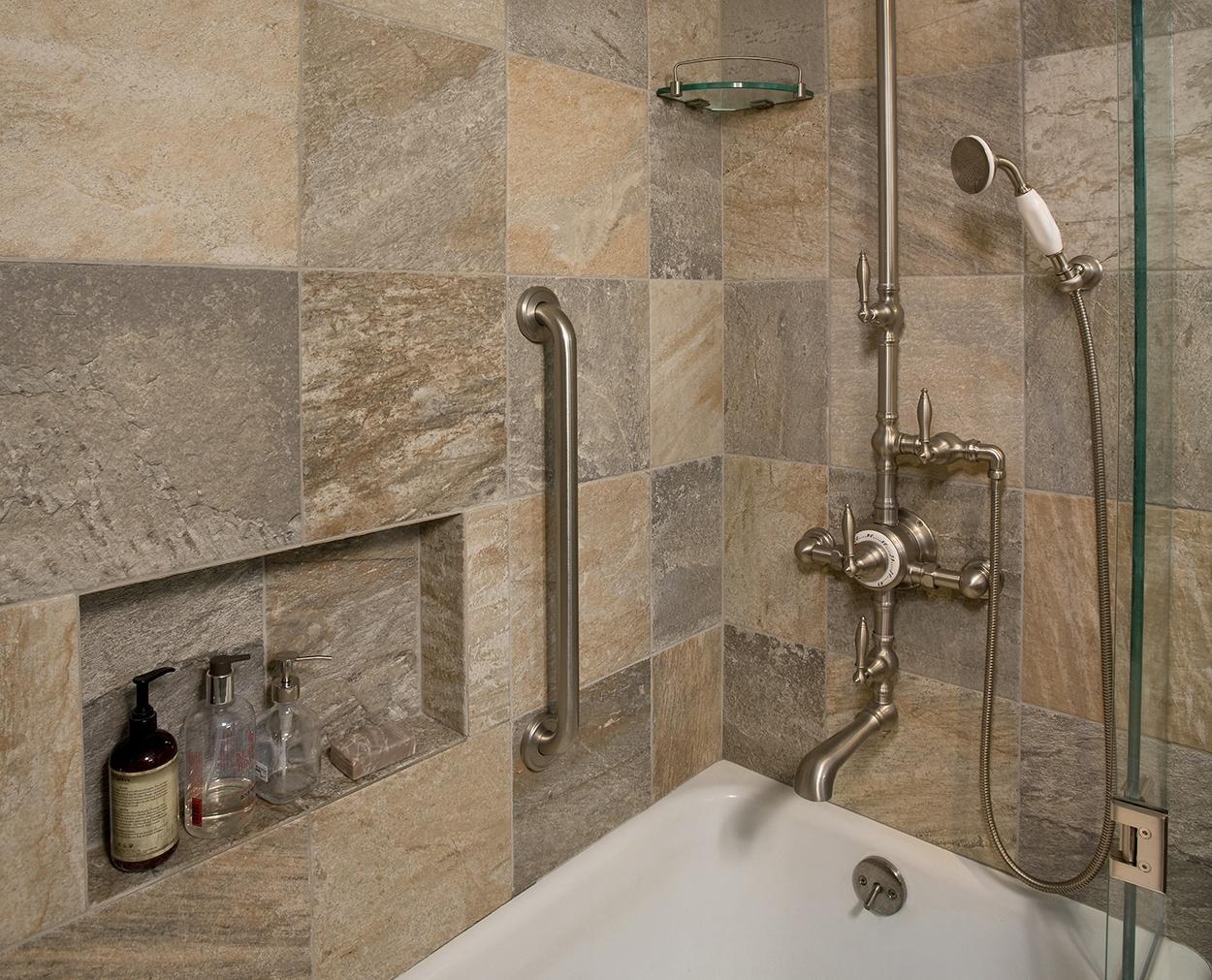 Freestanding shower plumbing fixtures in vintage master bath remodel