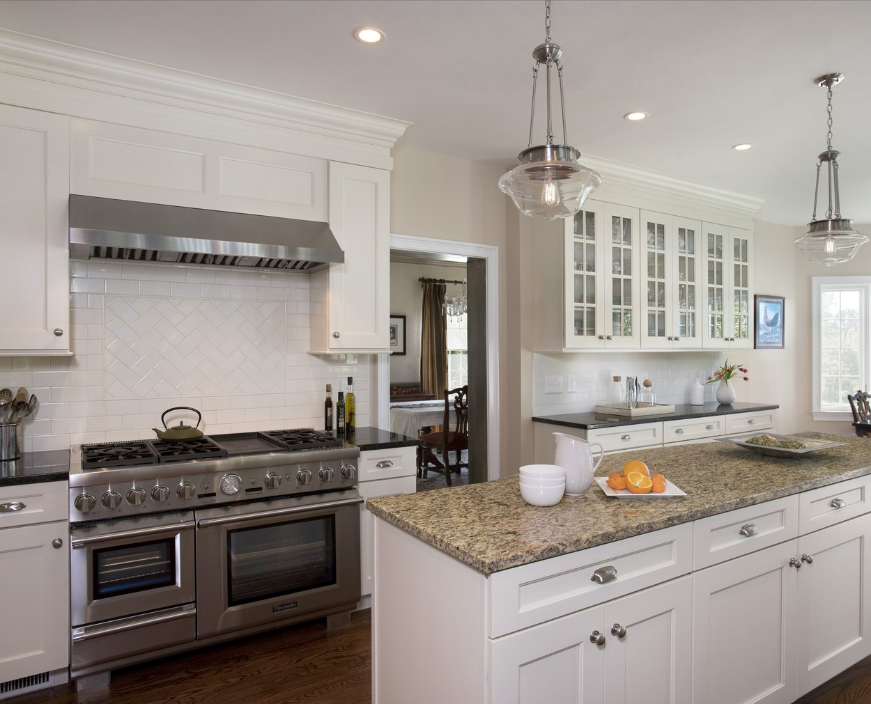 granite island, with commercial range in Wilton Ct kitchen renovation