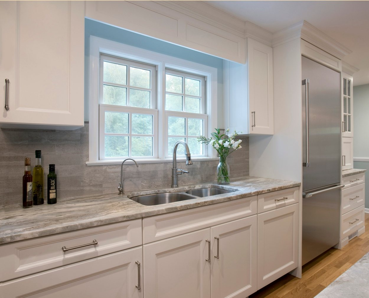 Twin double hung  window with sink, and filtered water