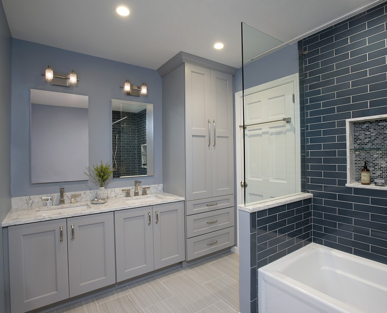Wellborn Dove Vanities in this Ridgefield bathroom renovation