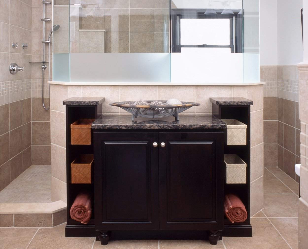 Back cabinetry with an asian feel, in Ridgefield CT master bath.