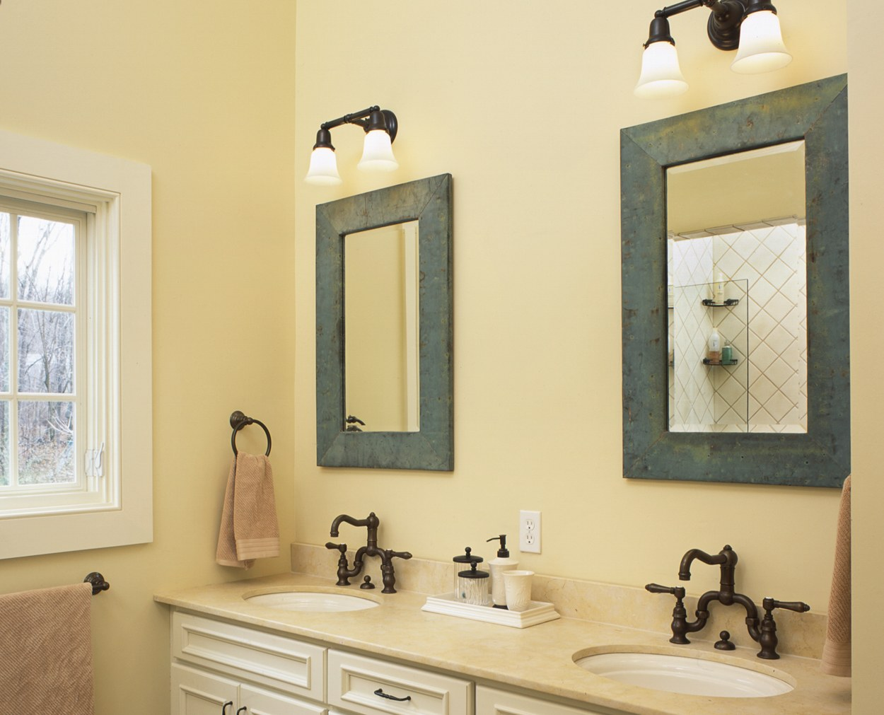 Framed mirrors with Cesearstone counters in this Wilton CT master bath.