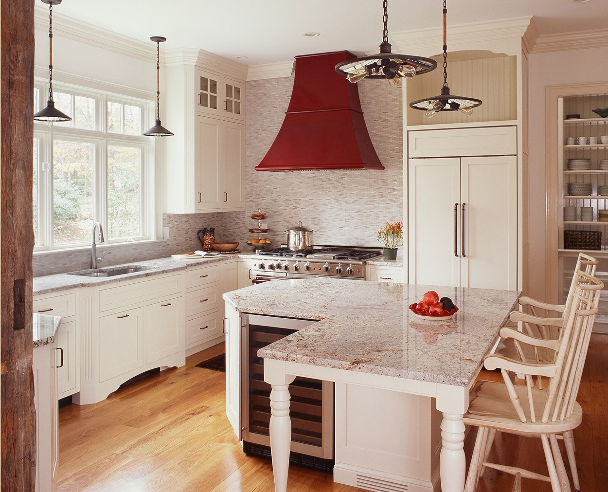 Custom Grabill white cabinets with an oversized  island.