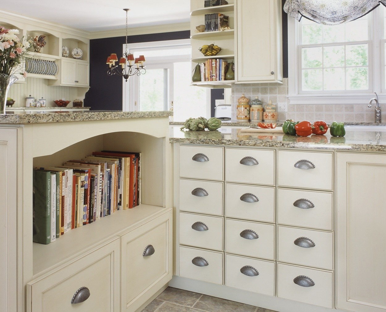 cookbooks and spice drawers