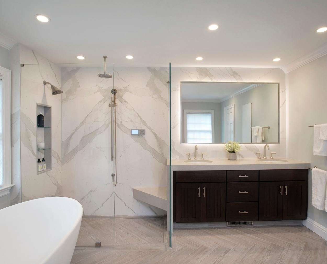 Ridgefield CT master bath with barrier free shower and free standing white tub