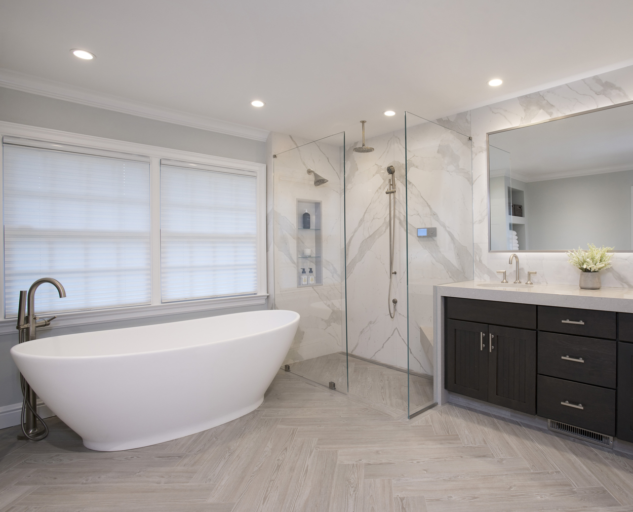 Gorgeous master bath with freestanding tub in Ridgefield CT