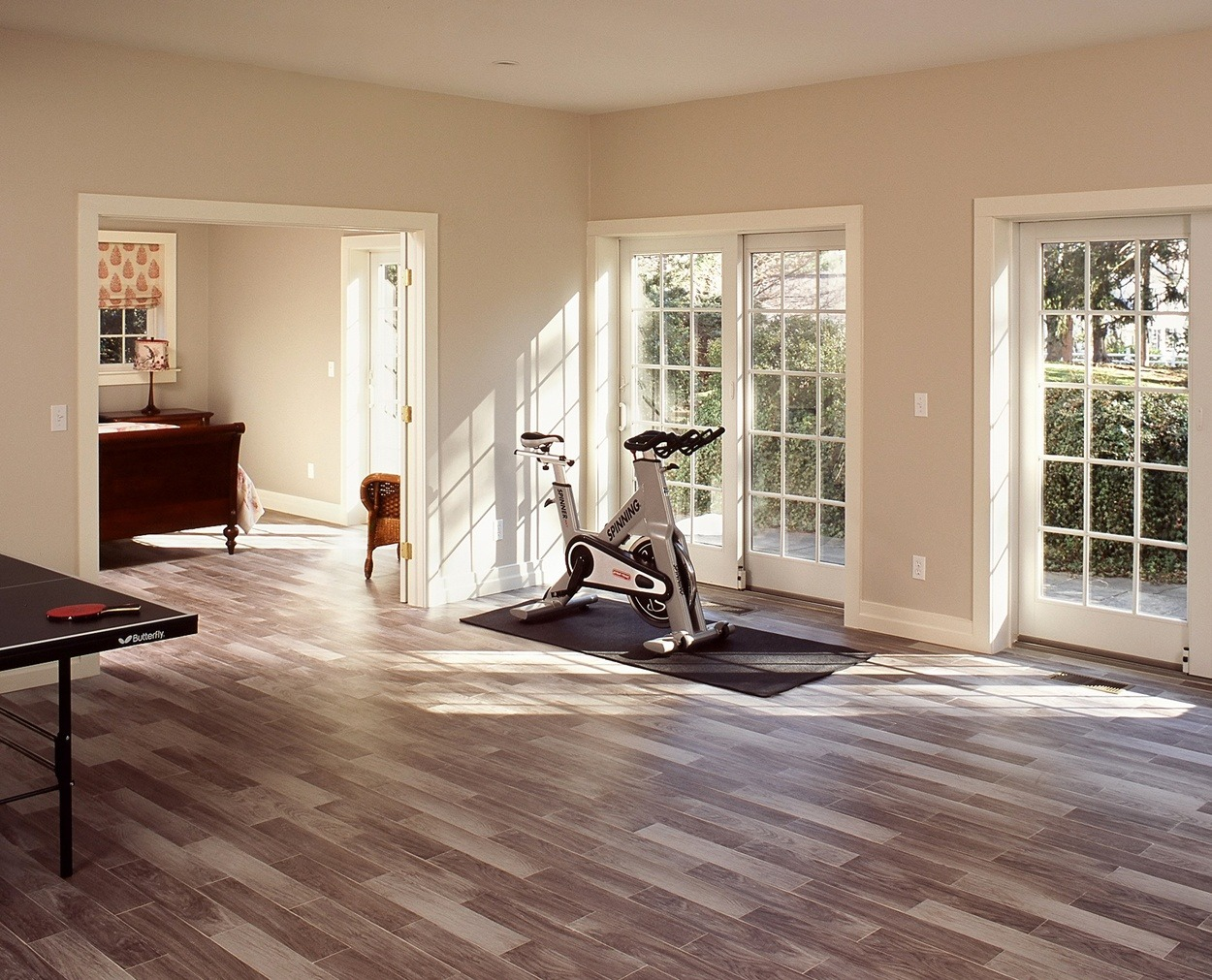 Exercise room or play area are options for this multiuse space in this New Canaan home.