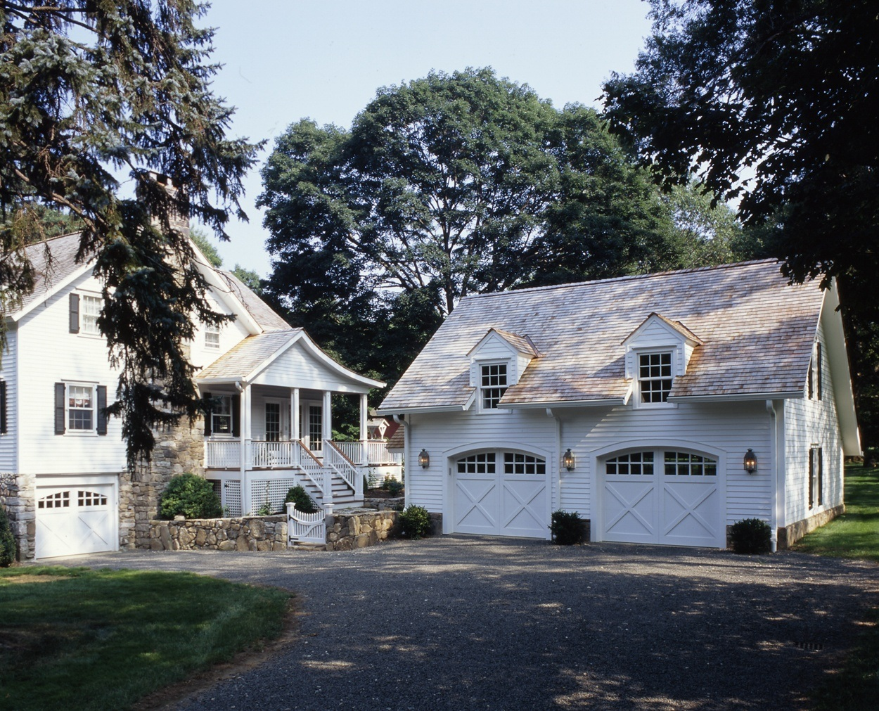Clark Construction's carriage house style garage coordinates well with the 1850s home.