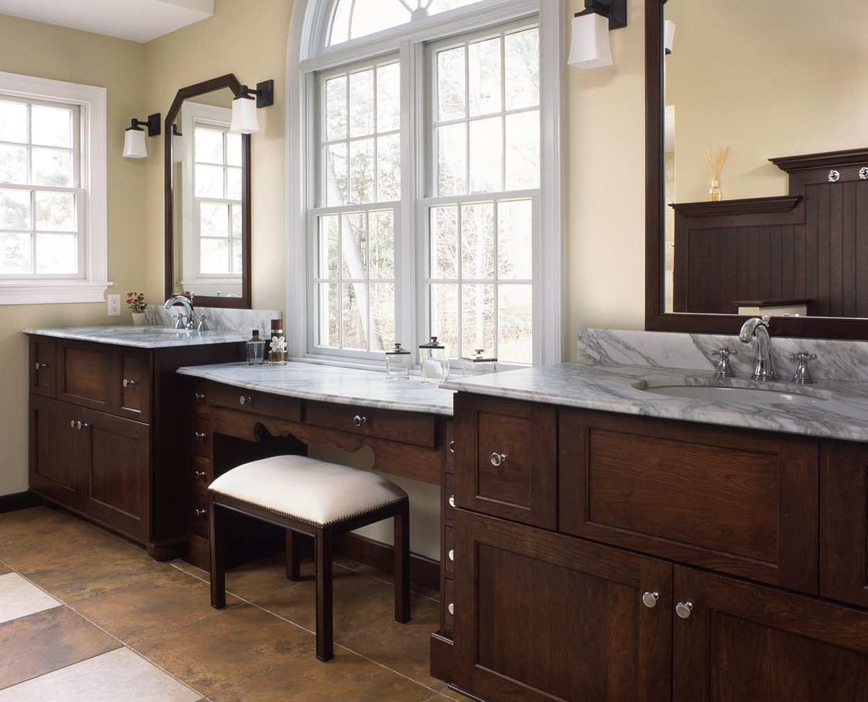 Dual vanities with a makeup area between in this Redding master bath renovation.