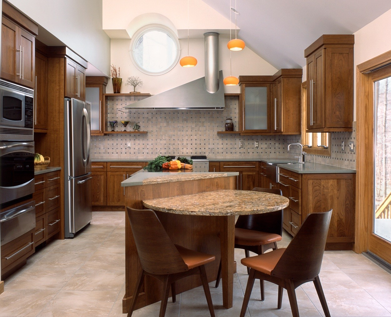 Modern kitchen designed and built by Clark Construction with geometric shapes.